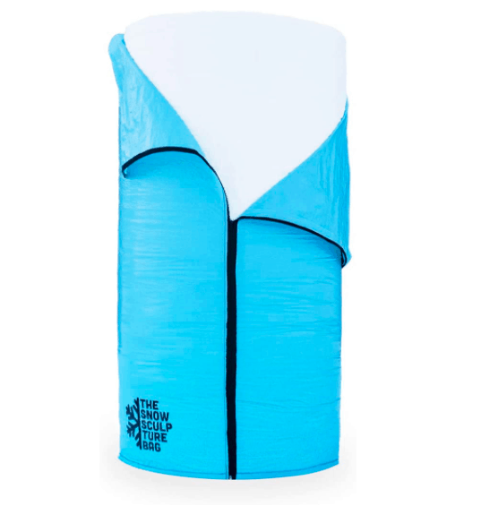 A Blue Snow Sculpture Bag Filled With Snow.
