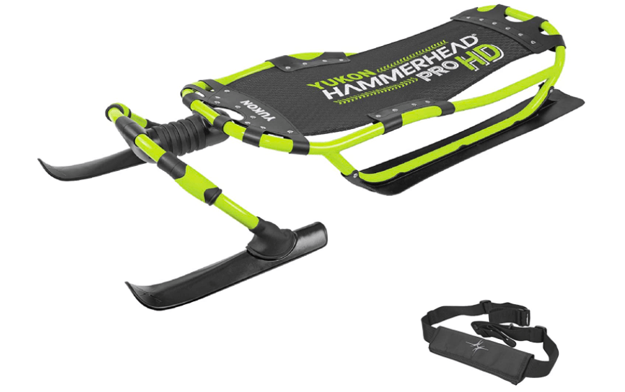 Steerable Snow Sled With Skis For Kids.