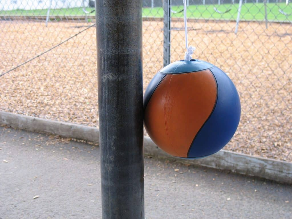 Tetherball Court In A School Yard For Kids.