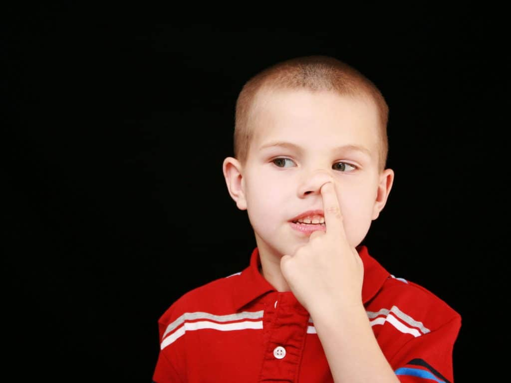 Little Boy Picking His Nose.