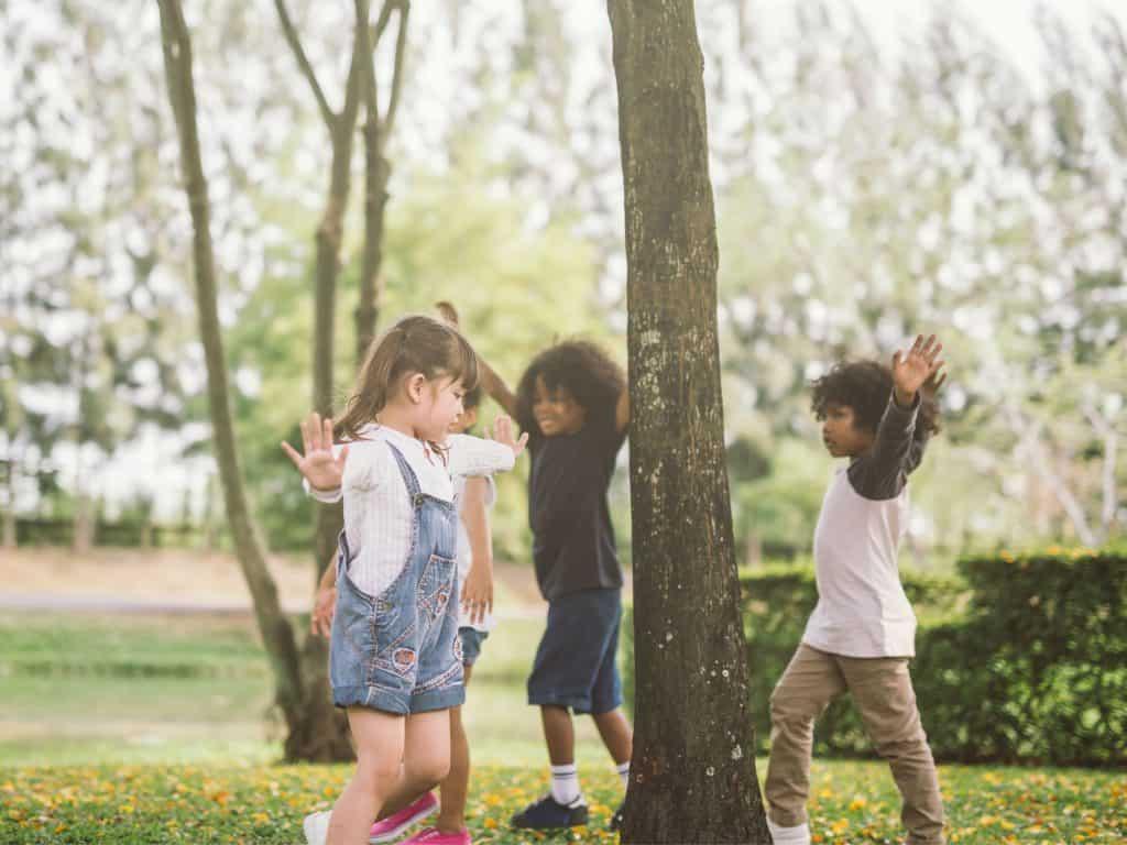 Kids Playing Simon Says.
